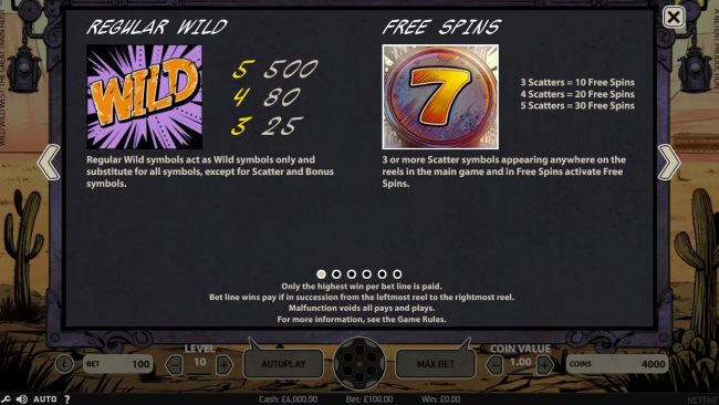 Regular wild symbols act as wild symbols only and substitute for all symbols except scatters and bonus symbols. 3 or more scatter appearing on reels in main game and free spins activate free spins.