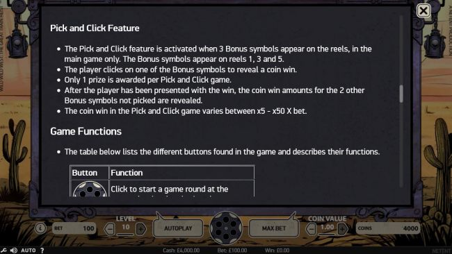 Pick and Click feature game rules.