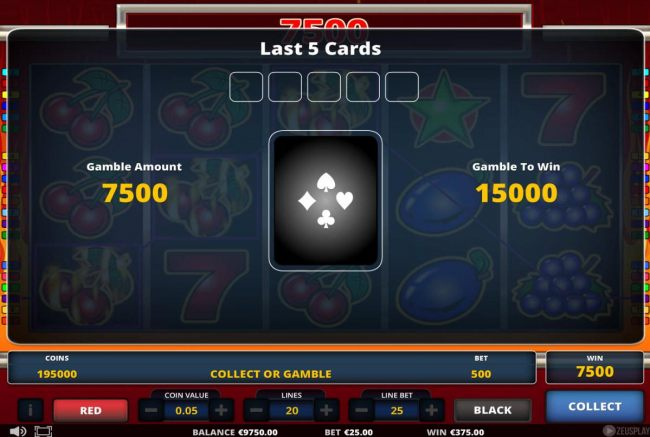 Gamble Feature - To gamble any win press Gamble then select Red or Black.