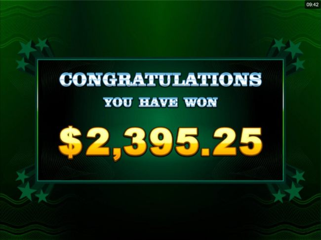 A 2,395.25 total prize awarded for Free Spins play.