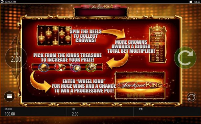 Spin the reels to collect crowns, more crowns awards a bigger total bet multiplier.