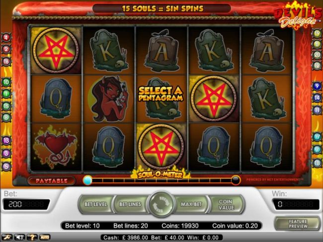 Free spins triggered when three pentagrams appear on any reels
