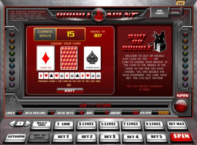 quit or double gamble feature game board