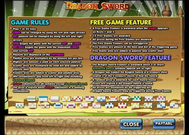 game rules, free game feature and dragon sword feature