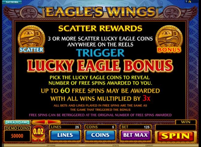 3 or more scatter lucky eagle coins anywhere on the reels, triggers the luky eagle bonus with a 3x multiplier