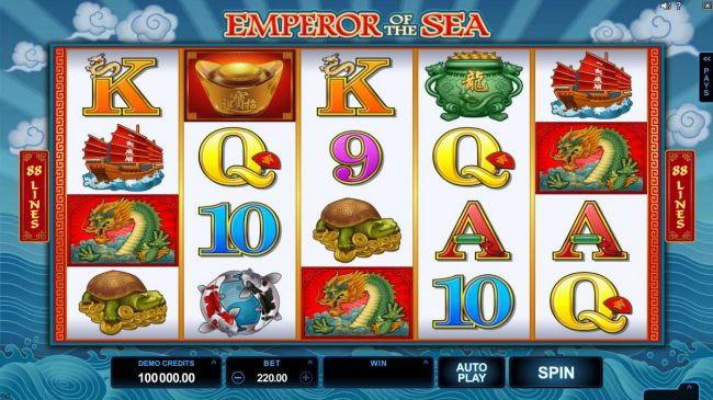 A Chinese dragon legend themed main game board featuring five reels and 88 paylines with a $412,500 max payout.