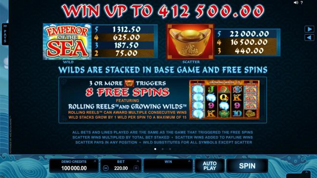 Wild and scatter symbols paytable. Win up to 412,500.00! Wilds are stacked in base game and free spins.