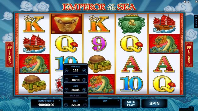 Click on the BET button to adjust the coin size, coins per line and numbers of lines played.
