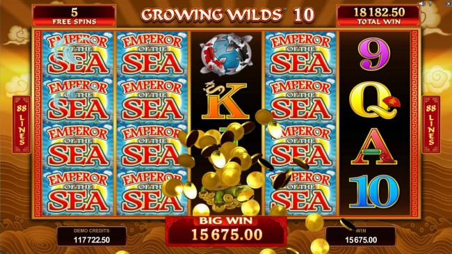 A big win is triggered by stacked wilds leading to a 15,675.00 jackpot award.