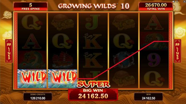 A 24, 162.50 super win is triggered during the free spins feature in conjunction with the Rolling Reels and Growing Wilds.