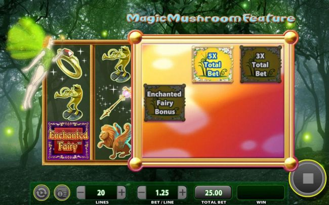 The Magic Mushroom feature will award one of three prizes including the Enchanted Bonus feature. Here the prize selection is a 5x total bet multiplier.