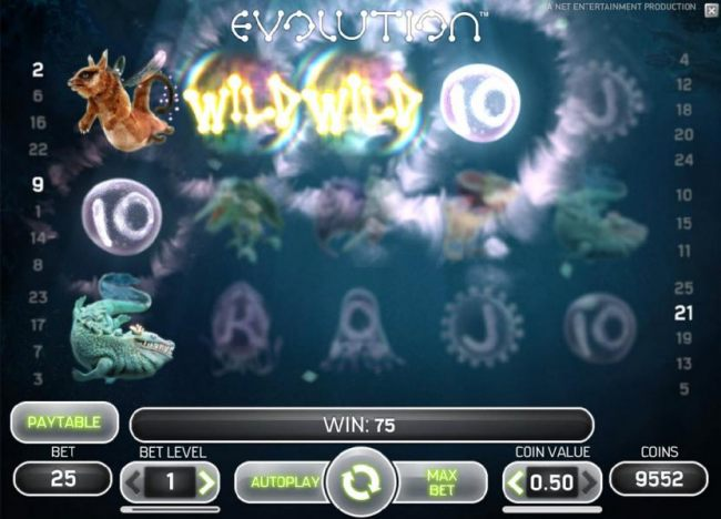 wild symbols triggers multiple winning paylines for a 75 coin jackpot