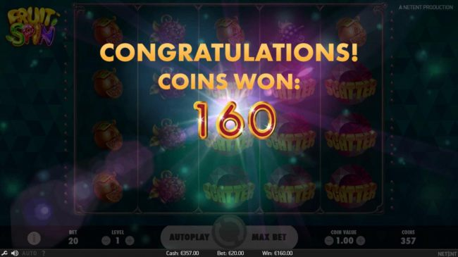 Lucky Wheel Feature pays out a total of 160 coins.