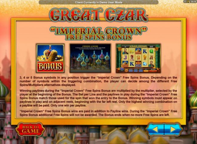 Imperial Crown Free Spins Bonus Feature game rules