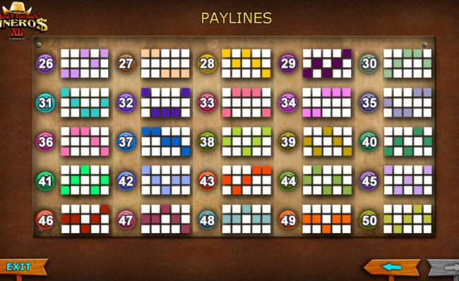 Payline Diagrams 26-50