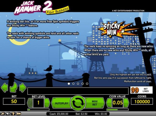 Jack Hammer 2 Fishy Business 3 or more free spin symbols triggers Sticky Win feature