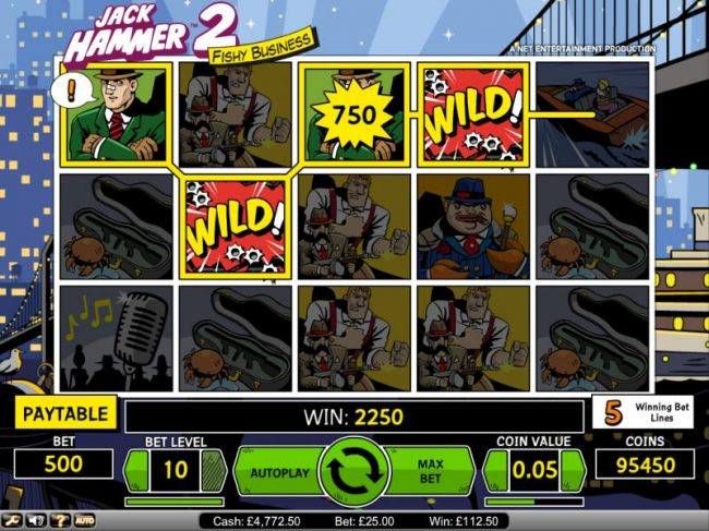Jack Hammer 2 Fishy Business slot game big win 2250 coin payout