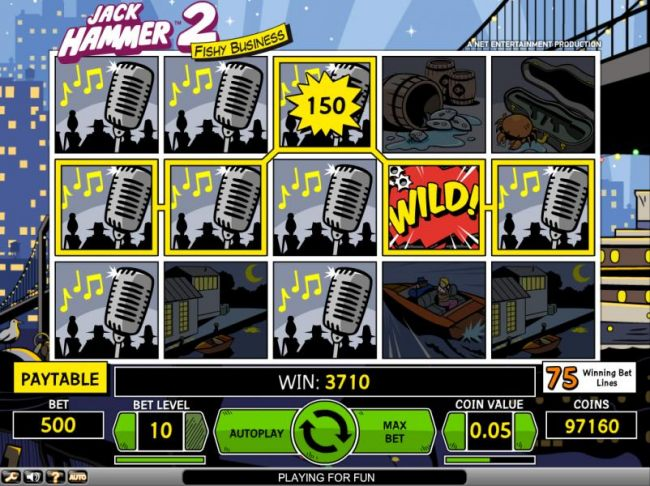 Jack Hammer 2 Fishy Business slot game in action