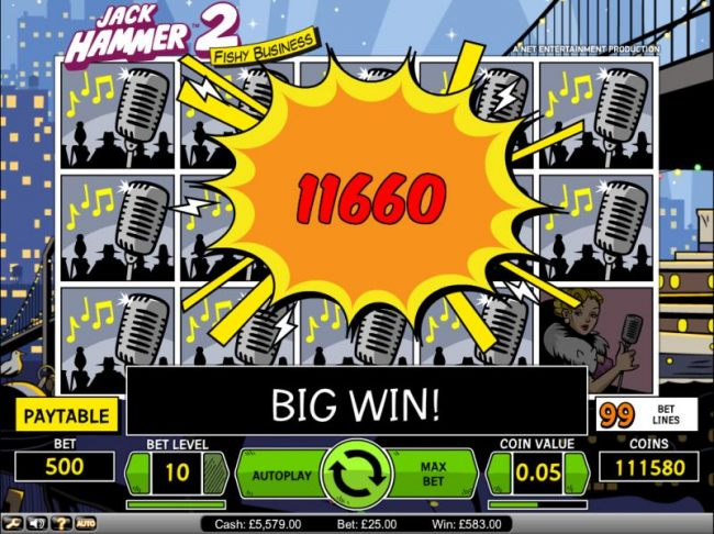 Jack Hammer 2 Fishy Business slot game big win payout screen