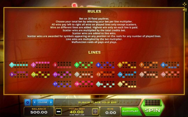 General Game Rules and Payline Diagrams 1-20