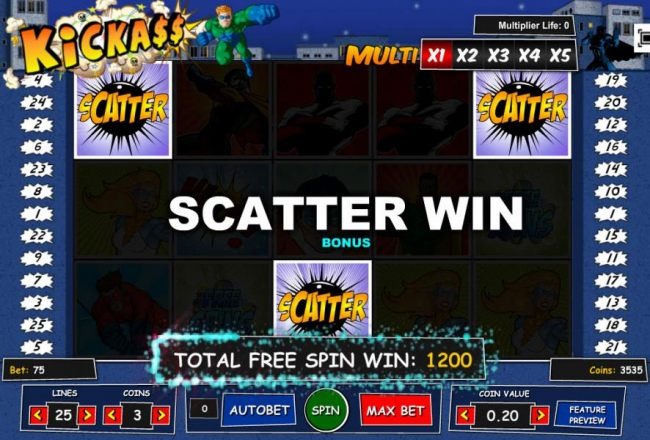 Free Spins Bonus Round pays put a 1,200 coin big win!