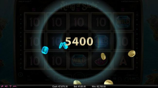 A 5,400 coin super win was triggered by the Sticky Win feature.