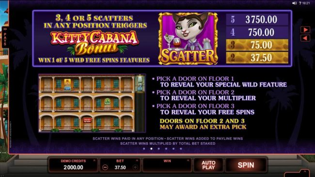 3, 4 or 5 scatters in any position triggers Kitty Cabana Bonus - Win one of five wild free spins feature