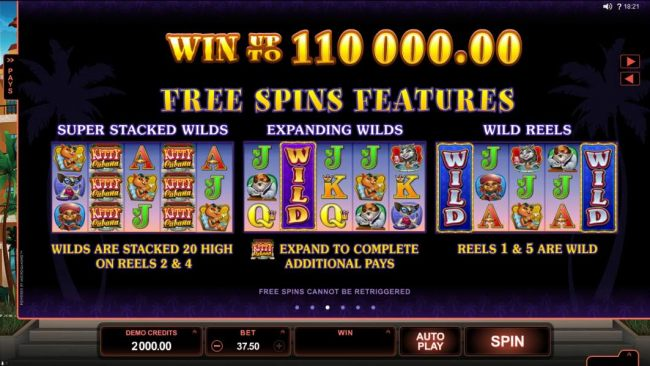 Win up to 110,000.00 Free Spins Features - Super Stacked Wilds, Expanding Wilds and Wild Reels