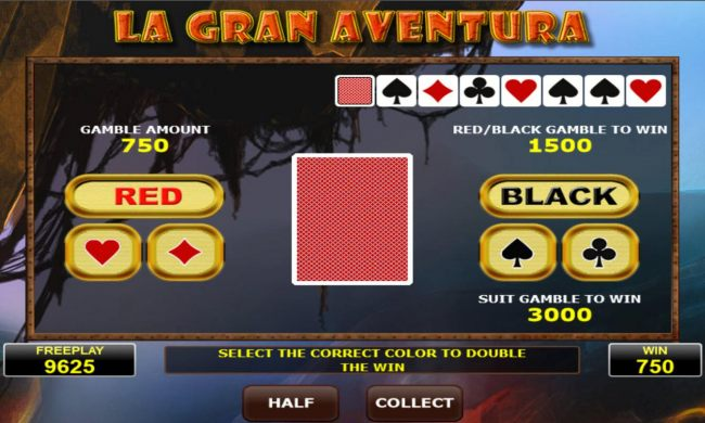 Gamble Feature - To gamble any win press Gamble then select Red or Black or suit