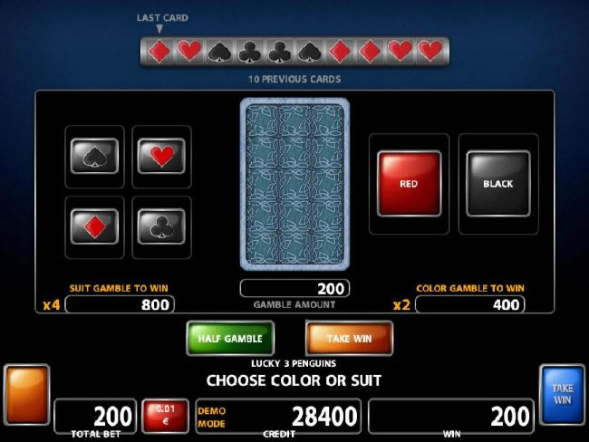 Double Up Gamble Feature - To gamble any win press Gamble then select color or a suit.
