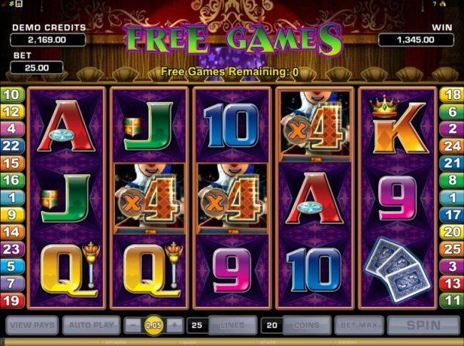the free games bonus feature pays out a total 1345 coin jackpot
