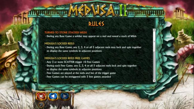 Turn to stone stacked wild rules. Medusa locked reels and free game rules