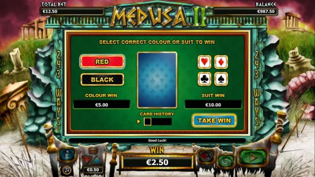 Gamble feature is available after each winning spin. Select color or suit to play.
