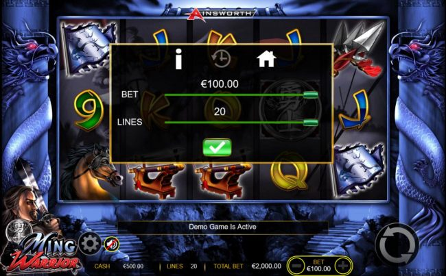 Click on the GEAR button to adjust the coin size and numbers of lines played.