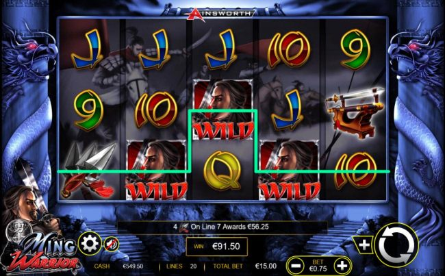 A 91.50 jackpot triggered by multiple winning combinations.