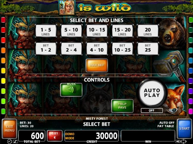 Select Bet and Lines - 1 to 20 Lines and 1 to 25 coins per line.