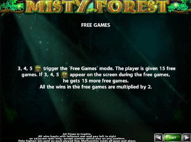 Three or more scatter symbols awards 15 free games with all wins multiplied by x2.