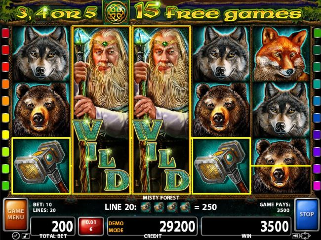A pair of stacked wilds triggers a 3500 coin jackpot win.