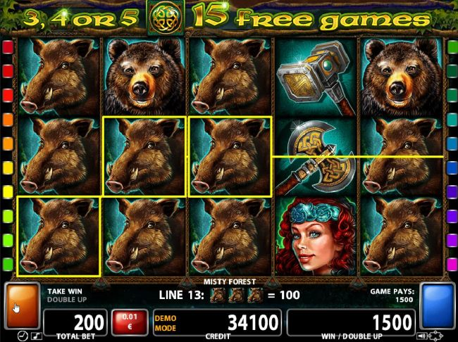 Wild Boar symbols form multiple winning paylines on reels 1, 2 and 3.