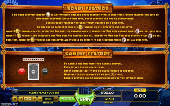 Bonus Feature Rules and Gamble Feature Rules.