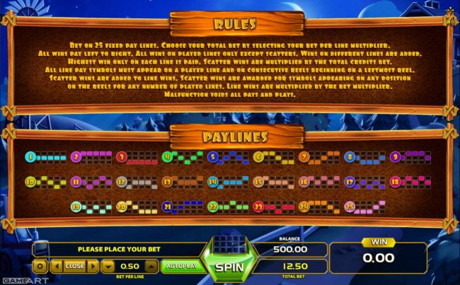 General Game Rules and Payline Diagrams 1-25