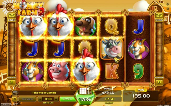135.00 jackpot awarded player for landing multiple winning combinations.