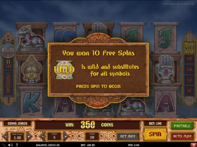10 free spins have been awarded