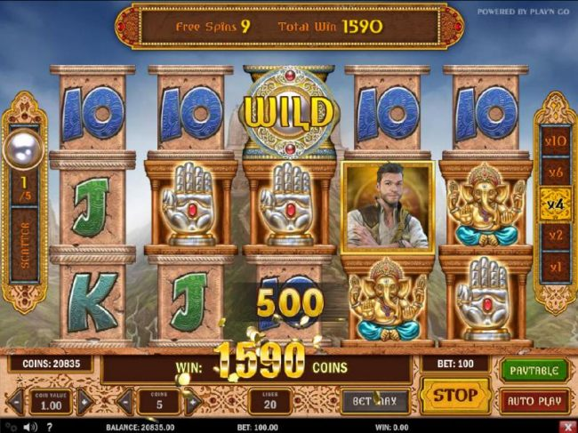 Multiple winning paylines  during the free spins feature triggers a 1590 coinbig win!