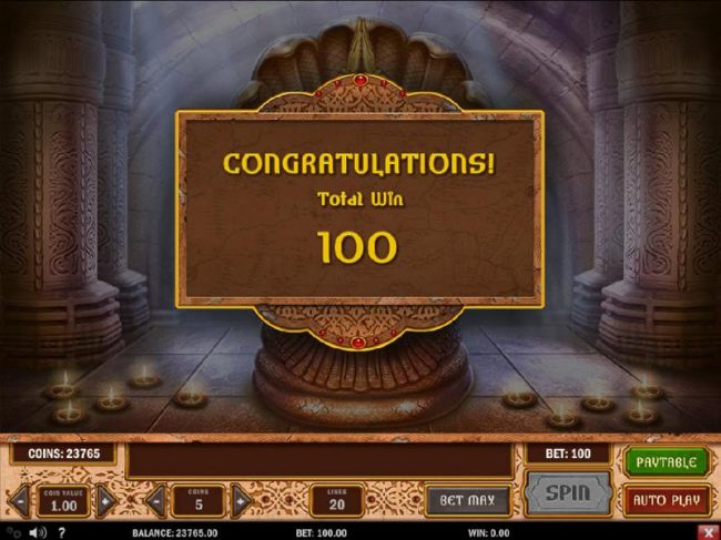 Bonus feature pays out a 100 coin jackpot