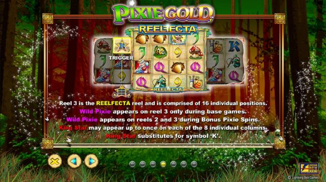 Reel 3 is the Reelfecta reel and is comprised of 16 individual positions. Wild Pixie appears on reel 3 only during base games. Wild Pixie appears on reels 2 and 3 during Pixie Spins.