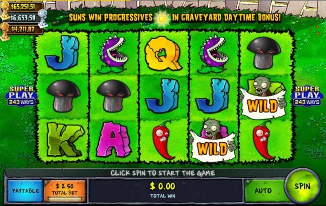 Main game board featuring five reels and 243 winning combinations with a progressive jackpot max payout