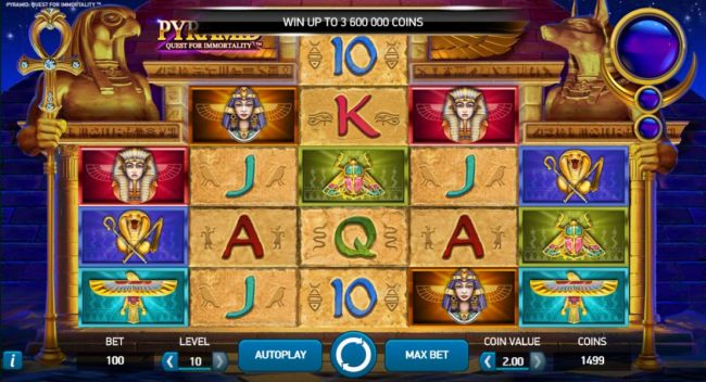 Main game board featuring five reels and 720 winning combinations with a $3,600,000 max payout. Game is based on an ancient Egyptian theme.