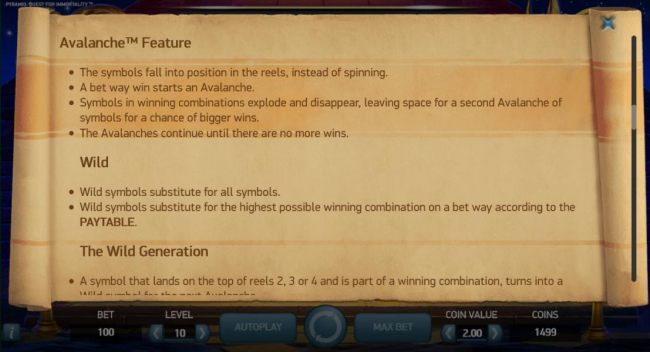 Avalanche Feature game rules and Wild symbol rules