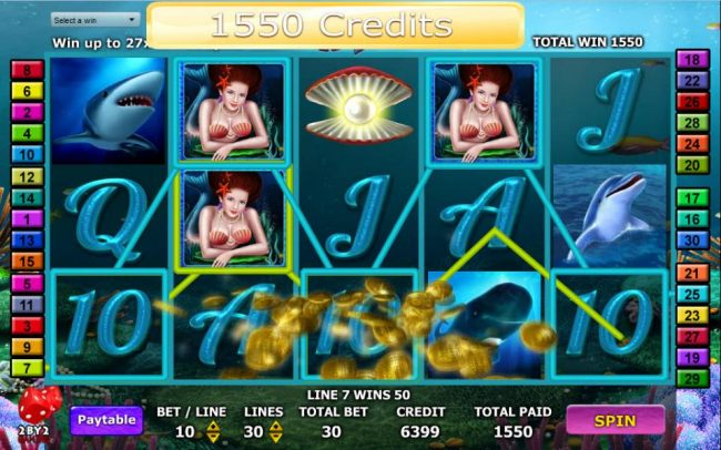 Wild symbols combine to produce a 1,550 credit jackpot